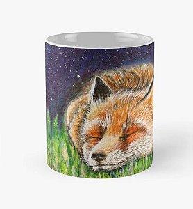 """Caneca grande para chá ou café (325 ml) Modelo Raposa no Cosmos """"Relaxa e confia no Universo"""""""