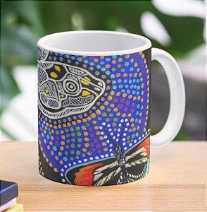 """Caneca grande para chá ou café (325 ml), Edição Especial """"Fauna da Amazônia"""" Modelo """"Tracajá Aborigene e Borboleta"""""""