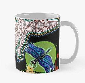 """Caneca grande (325 ml), Edição Especial """"Fauna da Amazônia"""", Modelo """"Jacaré-coroa Aborigene e Libelula"""""""