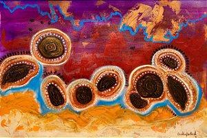 """""""Sementes do Rio Negro que despertam""""- Pintura original em técnica mista sobre papel A3 (29 x 42 cm)"""