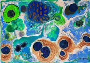 """""""Sementes que despertam no Rio Negro""""- Pintura original em técnica mista sobre papel A3 (29 x 42 cm)"""