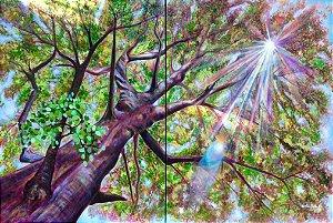 """""""Árvore Radiante I""""- Pintura Original em técnica mista sobre tela, diptico composto de duas telas, 100x70 cm"""