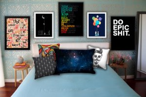 Combo Ambiente Decorativo Quarto Teen Masculino Nerderia e Lojaria teenm3 colorido