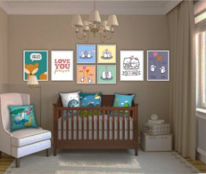 Combo Ambiente decorativo para bebes Nerderia e Lojaria baby3 colorido