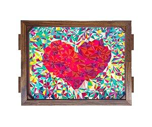 Bandeja De Madeira 30x40 cm Nerderia e Lojaria coração madeira