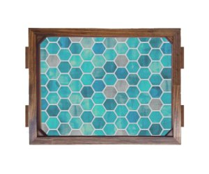 Bandeja De Madeira 30x40 cm Nerderia e Lojaria geometrico azul madeira
