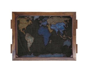 Bandeja De Madeira 30x40 cm Nerderia e Lojaria mapa jeans madeira