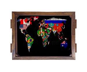 Bandeja De Madeira 30x40 cm Nerderia e Lojaria mapa madeira