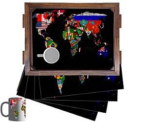 Kit Bandeja Com 2 Canecas E 4 Jogos Americanomapa madeira