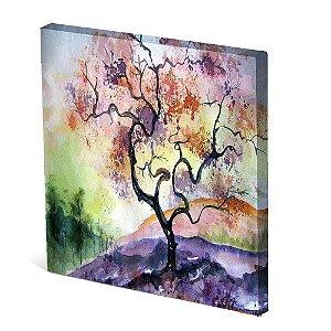 Tela Canvas 30X30 cm Nerderia e Lojaria arvore galhos tortos paint colorido