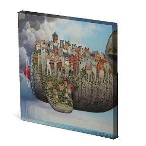 Tela Canvas 30X30 cm Nerderia e Lojaria avião city colorido