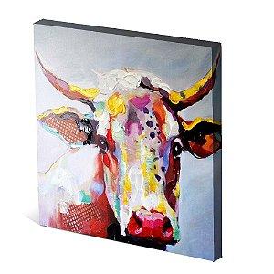 Tela Canvas 30X30 cm Nerderia e Lojaria bull surreal colorido