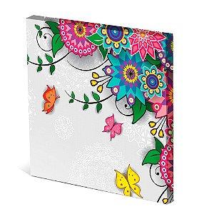 Tela Canvas 30X30 cm Nerderia e Lojaria butterfly flowers colorido colorido