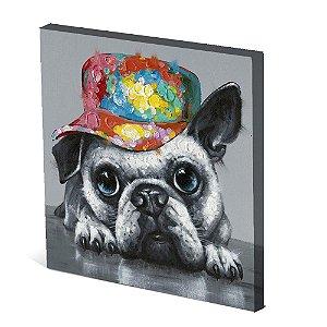 Tela Canvas 30X30 cm Nerderia e Lojaria cachorro de bone colorido
