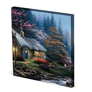Tela Canvas 30X30 cm Nerderia e Lojaria casa floresta colorido