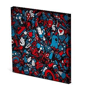 Tela Canvas 30X30 cm Nerderia e Lojaria fantasma coração colorido