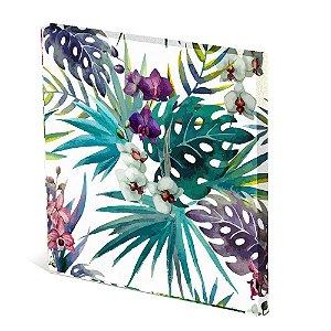 Tela Canvas 30X30 cm Nerderia e Lojaria flores colorido