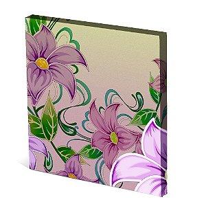 Tela Canvas 30X30 cm Nerderia e Lojaria flores roxas colorido