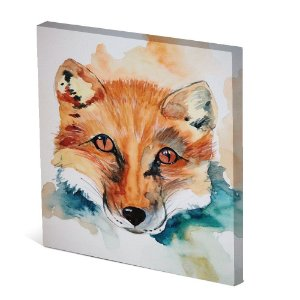 Tela Canvas 30X30 cm Nerderia e Lojaria fox paint colorido
