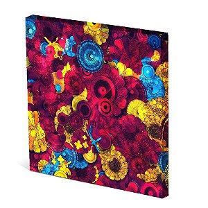 Tela Canvas 30X30 cm Nerderia e Lojaria margaridas vermelhas azul colorido