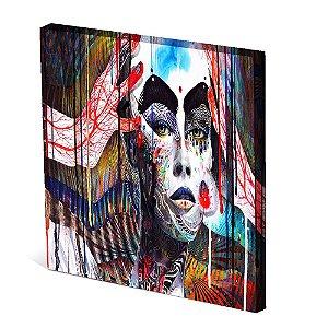 Tela Canvas 30X30 cm Nerderia e Lojaria mulher abstrato mao vermelha colorido