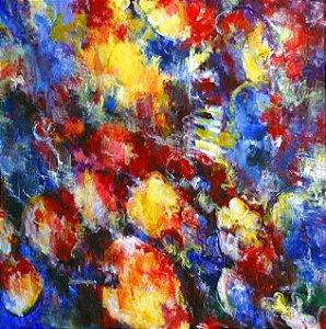 Tela Canvas 30X30 cm Nerderia e Lojaria mulher surreal colorido