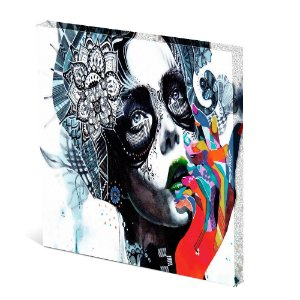 Tela Canvas 30X30 cm Nerderia e Lojaria mulher surreal maos colorido