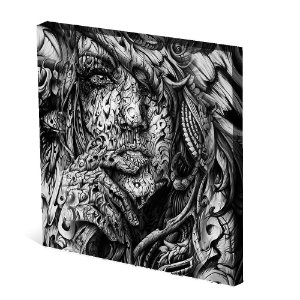 Tela Canvas 30X30 cm Nerderia e Lojaria mulher surrealista colorido