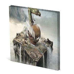 Tela Canvas 30X30 cm Nerderia e Lojaria navio e dragão colorido