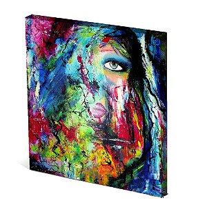 Tela Canvas 30X30 cm Nerderia e Lojaria olho e boca surreal colorido