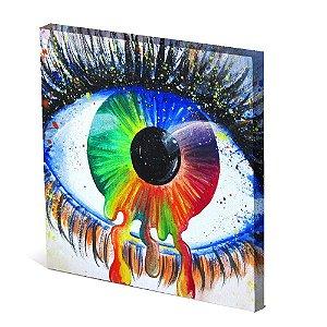 Tela Canvas 30X30 cm Nerderia e Lojaria olho multicor colorido