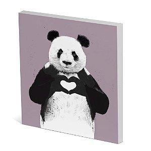 Tela Canvas 30X30 cm Nerderia e Lojaria panda coracao colorido
