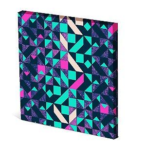 Tela Canvas 30X30 cm Nerderia e Lojaria triangles fluor colorido