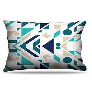 Fronha Para Travesseiros Nerderia e Lojaria azul geometrico colorido