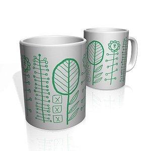 Caneca De Porcelana Nerderia e Lojaria arvores risco simples verde colorido
