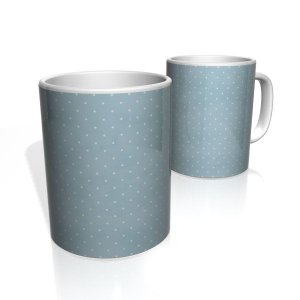 Caneca De Porcelana Nerderia e Lojaria azul com bolinhas brancas 2 colorido