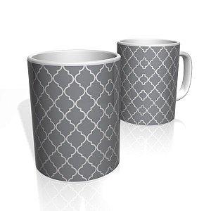 Caneca De Porcelana Nerderia e Lojaria azulejo cinza escuro colorido