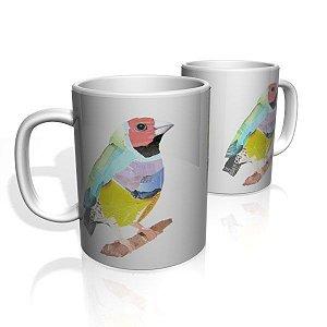Caneca De Porcelana Nerderia e Lojaria bird aquarela colorido