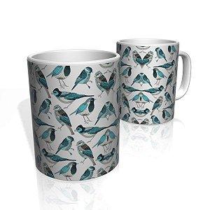 Caneca De Porcelana Nerderia e Lojaria blue birds colorido
