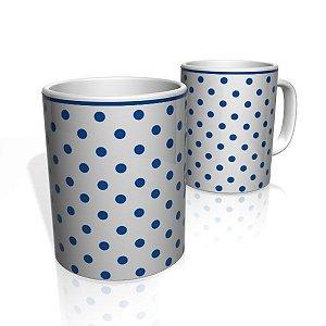 Caneca De Porcelana Nerderia e Lojaria bolinhas azul colorido
