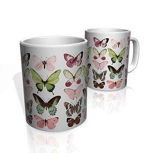 Caneca De Porcelana Nerderia e Lojaria butterflys colorido