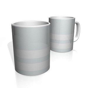 Caneca De Porcelana Nerderia e Lojaria cinza claro duas faixas colorido
