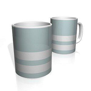 Caneca De Porcelana Nerderia e Lojaria cinza duas faixas colorido