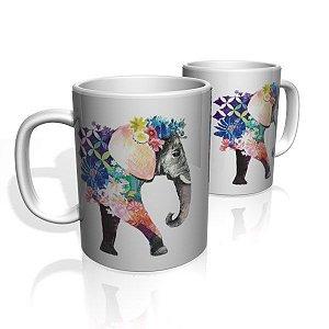 Caneca De Porcelana Nerderia e Lojaria elefante surreal colorido