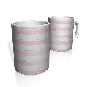 Caneca De Porcelana Nerderia e Lojaria faixas rosa claro  colorido