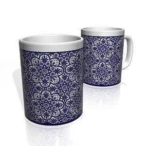 Caneca De Porcelana Nerderia e Lojaria flor azul colorido