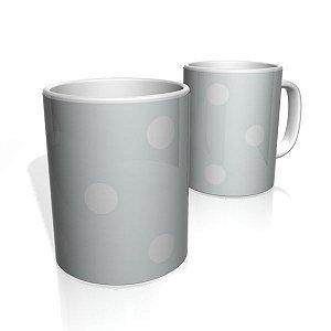 Caneca De Porcelana Nerderia e Lojaria gray bolas brancas colorido