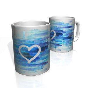 Caneca De Porcelana Nerderia e Lojaria heart with blue colorido