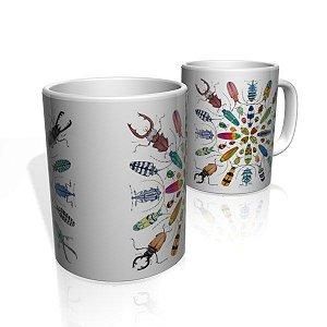 Caneca De Porcelana Nerderia e Lojaria insects 3 colorido