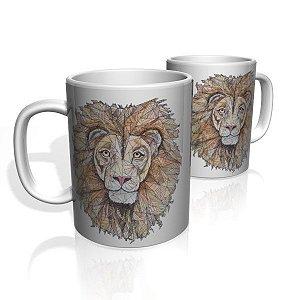 Caneca De Porcelana Nerderia e Lojaria leão surreal  colorido